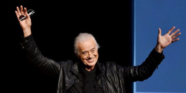 LOS ANGELES, CA - NOVEMBER 12: Musician Jimmy Page speaks onstage at 'An Evening With Jimmy Page And...