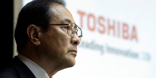 Masashi Muromachi, chairman and president of Toshiba Corp., attends a news conference in Tokyo, Japan,...