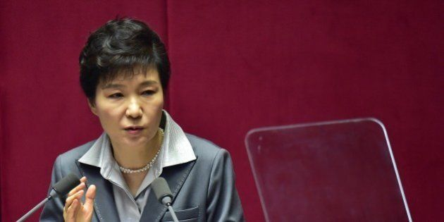 South Korean President Park Geun-Hye delivers her budget speech at the National Assembly in Seoul on...
