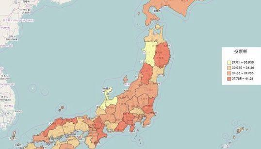 衆院選 18時までの投票率・都道府県別マップ【画像】