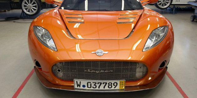 A photo taken on May 20, 2010 shows a spyker car in the factory in Zeewolde, The Netherlands. Saab and...