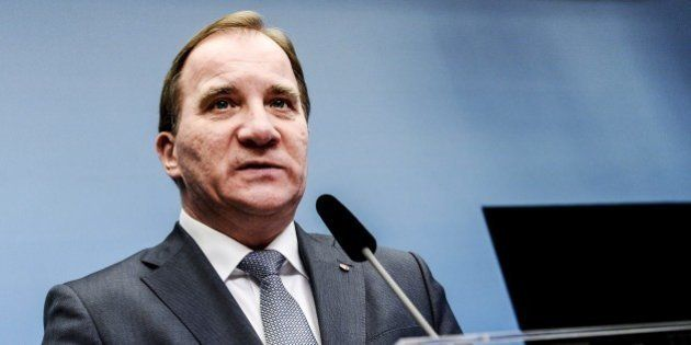 Sweden's Prime Minister Stefan Lofven (Social Democrats) talks at a press conference at the chancellery...