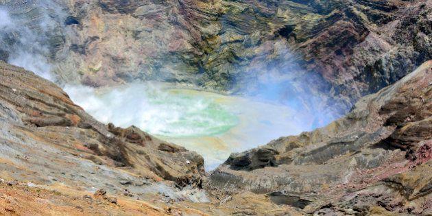 Japan, Kyushu, Kumamoto Prefecture, Aso, Mount Aso, View of Naka-Dake Crater. (Photo by: JTB Photo/UIG...