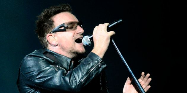 Lead singer Bono of Irish band U2 performs during their 360 Degree Tour at Athen's Olympic stadium, Greece,...