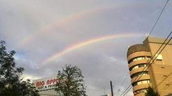二重の虹、都内各地に出現