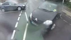 車に跳ね飛ばされたサイクリスト、奇跡的に両足で着地(動画)