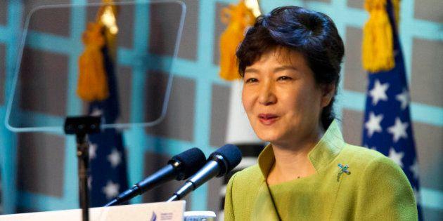 SEOUL, SOUTH KOREA - SEPTEMBER 30: South Korean President Park Geun-hye speaks during a ceremony honoring...
