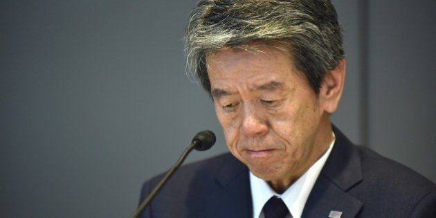 President of Toshiba, Hisao Tanaka attends a press conference at the company's headquarters in Tokyo...