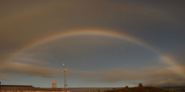 A double moonbow over the Hawaiian Volcano Observatory on