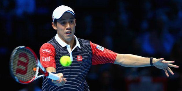LONDON, ENGLAND - NOVEMBER 11: Kei Nishikori of Japan plays a shot in the round robin singles match against...