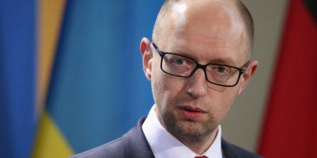 BERLIN, GERMANY - MAY 28: Interim Ukrainian Prime Minister Arseniy Yatsenyuk, along with German Chancellor...