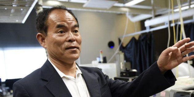 SANTA BARBARA, CA - OCTOBER 07: UC Santa Barbara scientist Shuji Nakamura (C) gives a tour of the lab...