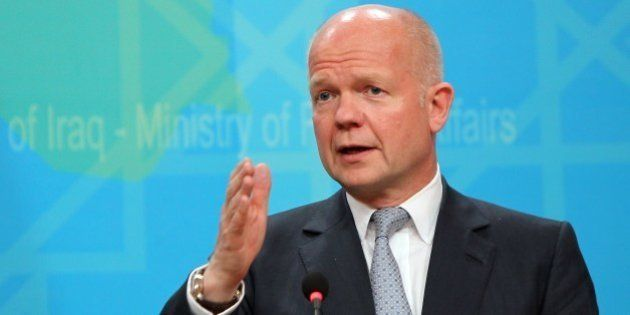 British Foreign Secretary William Hague speaks during a press conference at the Ministry of Foreign Affairs...