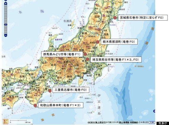 台風による竜巻が10個発生