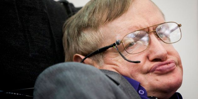 LONDON, UNITED KINGDOM - APRIL 30: Stephen Hawking makes an appearance to show support for the Breathe...