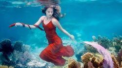 まるで人魚。海の生きものに愛される美しい少女がいた【画像】