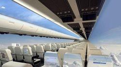 もし飛行機の壁一面がスクリーンだったら......【画像】