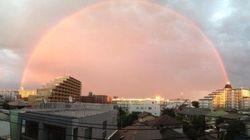 まるで「異世界への門」赤い虹が突如出現 どうして見えた?