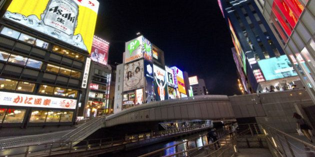 Japan, Kinki Region, Osaka Prefecture, Osaka, Chuo Ward, View of Ebisu Bridge at Dotonbori. (Photo by:...