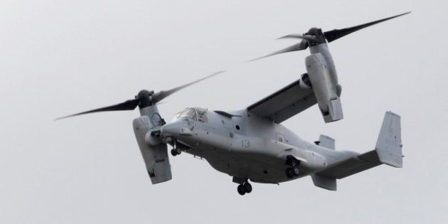 An MV-22 Osprey tiltrotor aircraft takes off to participate in a flying display on the second day of...
