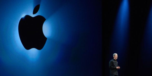 Tim Cook, chief executive officer at Apple Inc., speaks during the keynote of the World Wide Developers...