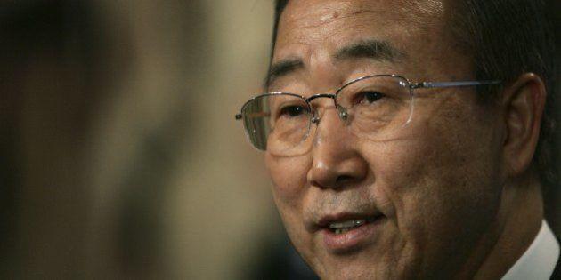 NEW YORK - JANUARY 2: New United Nations Secretary-General Ban Ki-Moon speaks to the news media on his...