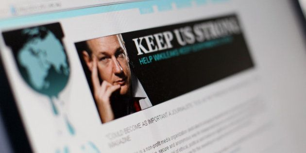 A picture taken on December 3, 2010 in Paris shows a page of the website WikiLeaks featuring its founder...