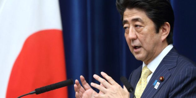 Shinzo Abe, Japan's prime minister, speaks during a news conference at the prime minister's official...