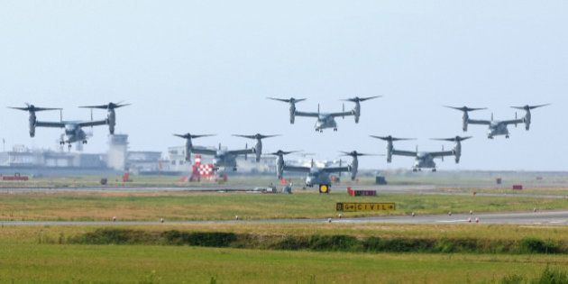 IWAKUNI, JAPAN - AUGUST 12: (CHINA OUT, SOUTH KOREA OUT) MV-22 Osprey aircrafts take off at the U.S....