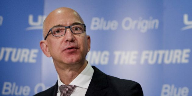 Jeff Bezos, chief executive officer of Amazon.com Inc. and founder of Blue Origin LLC, speaks during...