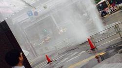渋谷駅前でマンホールから水噴射 関東などで大雨【画像】