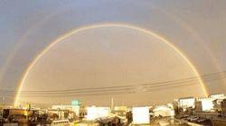 台風一過、高知の空に美しい二重の虹がかかる【画像】