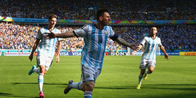 BELO HORIZONTE, BRAZIL - JUNE 21: Lionel Messi of Argentina celebrates scoring his team's first goal...