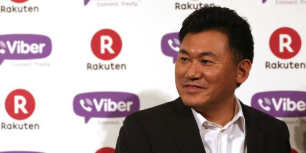 TOKYO, JAPAN - FEBRUARY 14: Hiroshi Mikitani, chairman and chief executive officer of Rakuten, Inc. speaks...