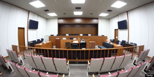 JAPAN - MAY 19: A courtroom in the Tokyo District Court sits empty in Tokyo, Japan, on Tuesday, May,...