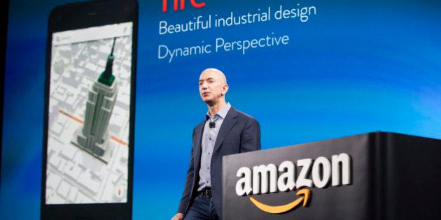 SEATTLE, WA - JUNE 18: Amazon.com founder and CEO Jeff Bezos presents the company's first smartphone,...