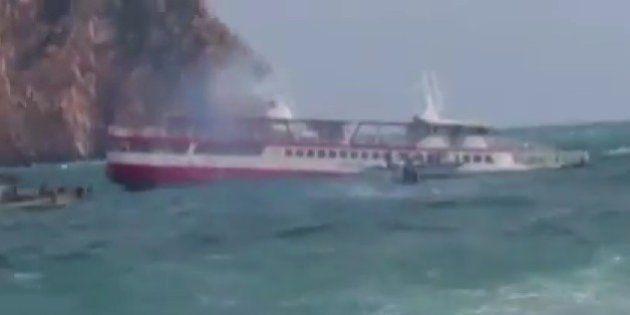 韓国南西部で遊覧船が座礁 乗客・乗員109人は全員救助される