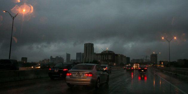 AUSTIN, TX - MAY 25: Rain falls on May 25, 2015 in Austin, Texas. Texas Gov. Greg Abbott toured the damage...