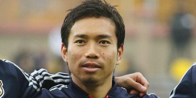 ZHODZINA, BELARUS - OCTOBER 15: Yuto Nagatomo of Japan looks on prior to the international friendly match...