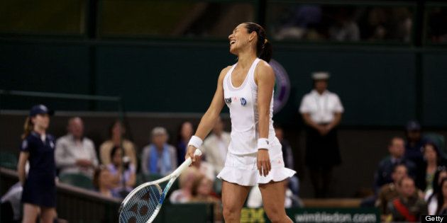 LONDON, ENGLAND - JUNE 29: Kimiko Date-Krumm of Japan reacts during the Ladies' Singles third round match...