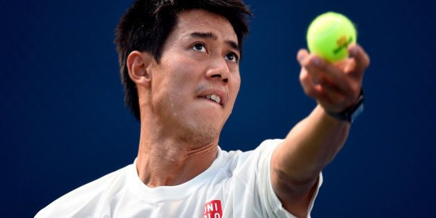 NEW YORK, NY - SEPTEMBER 07: Kei Nishikori of Japan practices on Day fourteen of the 2014 US Open at...