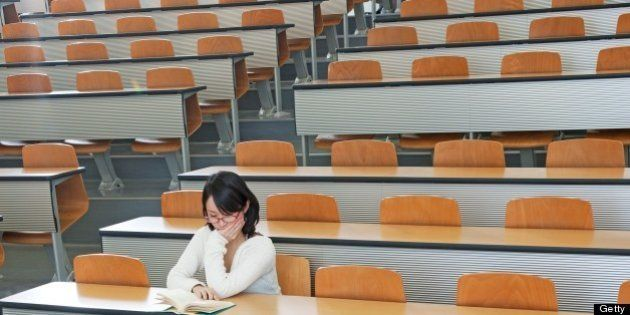japanese college student in the class