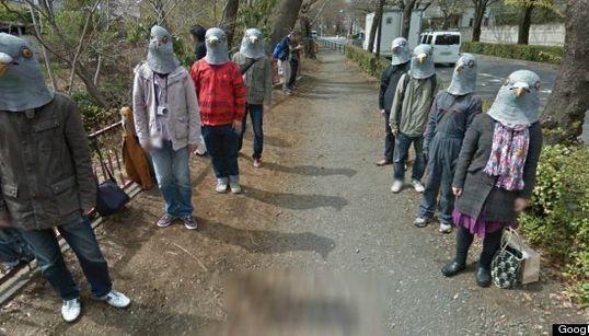 日本のストリートビューに登場した「謎のハト人間たち」