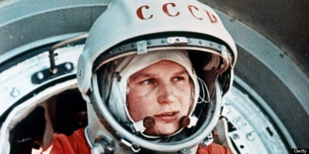 Vostok 6, soviet cosmonaut valentina tereshkova, the first woman in space, in front of the vostok capsule,...
