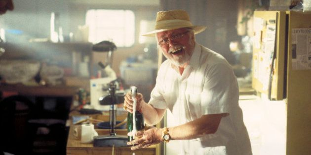 English actor Richard Attenborough as entrepreneur John Hammond in a scene from the film 'Jurassic Park',...