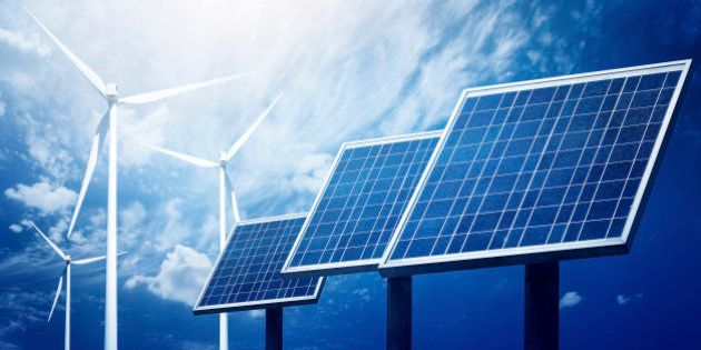 Close up picture to photovoltaic array panels in a