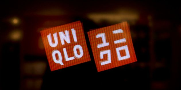 The Uniqlo Co. logo is displayed on a screen at a store on 5th Avenue in New York, U.S., on Tuesday,...