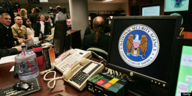 Fort Meade, UNITED STATES: A computer workstation bears the National Security Agency (NSA) logo inside...