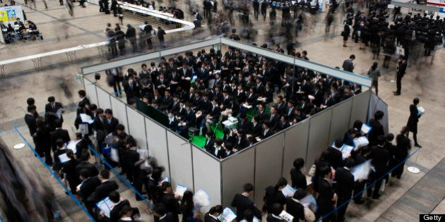 University students attend a job fair hosted by Recruit Co. at Makuhari Messe in Chiba City, Japan, on...