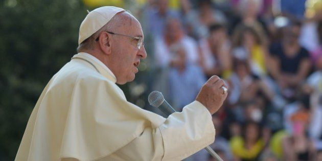 Pope Francis Francis delivers a speech in Isernia, southern Italy, on July 5, 2014 as part of a one day...